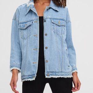 Denim jacket size L / new with rad! Never worn!